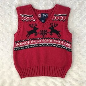 Chaps Sweater Vest 18M Reindeer Red Black White